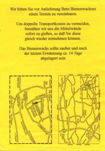 Flyer Gerdes Wachsumarbeitung vor 20 Jahren (Rückseite)